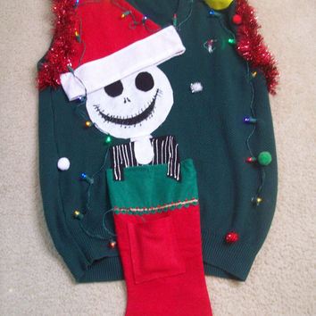 "meduim/Large Lite UP Ugly Christmas Sweater Vest Men Nightmare Before Christmas  Holiday Sweater "" with lights Never before seen"