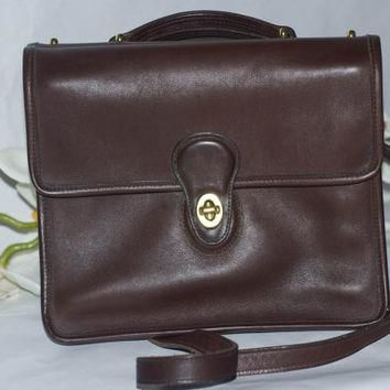 Vintage 90¡¯s Coach Soft Leather Willis Crossbody Messenger Bag In Chocolate Brown