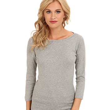Three Dots 3/4 Sleeve British Tee Granite - Zappos.com Free Shipping BOTH Ways