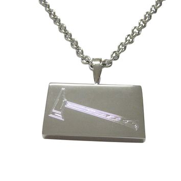 Silver Toned Etched Axe Pendant Necklace