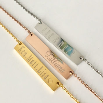Name Bar Necklace personalized Necklace Bar Necklace Letter Necklace Initial Necklace Gold Bar Necklace Bridesmaid gift,