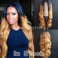 Free Shipping high quality  heat resistant cheap long two tone black to blond mixed ombre wavy glueless synthetic lace front wig