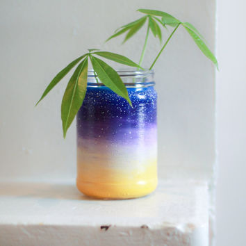Sunset Mason Jar: Hand Painted Sunset Drinking Glass or Vase