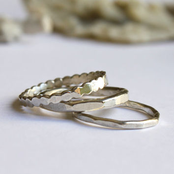 Stack Ring Set Of 3 Dots Hammered Textured Everyday Simple Skinny Stack Ring Set
