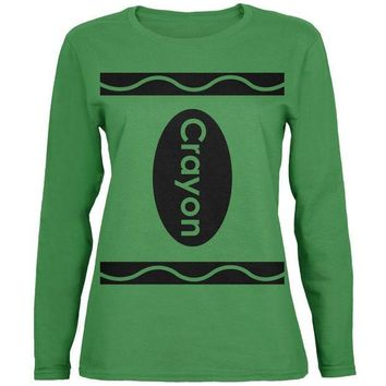 PEAPGQ9 Halloween Crayon Costume Green Womens Long Sleeve T-Shirt
