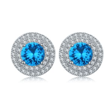ON SALE - Tropical Blue CZ Halo Stud Earrings