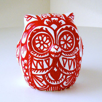 CIJ SALE Ceramic Owl Red and White Tattoo Day of the Dead Folk Art Animal Bird Painted by sewZinski