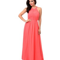 Coral Pink Grecian Chiffon Evening Gown