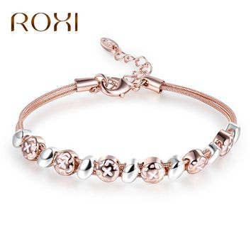 ROXI Geometric Shape Rose Gold/Silver Color Multilayer Bracelets Snake Chain Charm Bracelets For Women Jewelry bracelet femme