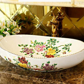 Oval Bathroom Lavabo Ceramic Counter Top Wash Basin Cloakroom Hand Painted Vessel Sink 5032