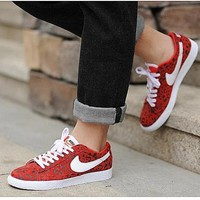 """""""NIKE"""" Trending Fashion Casual Leopard Sports Shoes Red"""