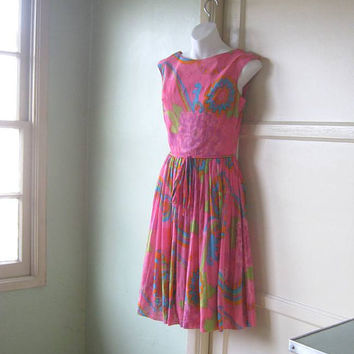 Vintage 1960s Psychedelic Print Sleeveless Pink Dress; Small-Medium - Saba Jrs. of California Pink Fit & Flare Dress - Pink '60s Party Dress