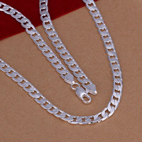 Trendy Lace Silver Link Chain For Men N047