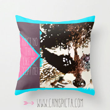 Racoon Geometric Throw Pillow Guardian of the Galaxy Quote Decorative Cover Neon Pink Aqua Purple Blue Home Decor Rocket Comic Superhero Mod