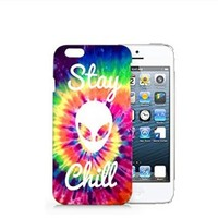 Alien Tie Dye Stay Chill Iphone 6 Plus Case, Tie Dye Iphone 6 Plus Case Plastic Hard White Case Unique Design-Quindyshop (iphone 6 plus)