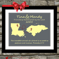 Long Distance Friendship Quote Gifts For Friends in ANY Two States Map Art Unique Best Friend religious gift art