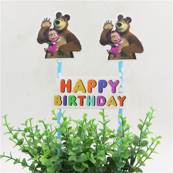 1set masha and bear theme cake flags cupcake cake topper happy birthday party supplies cake baking picks party decorative
