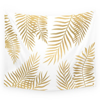 Society6 Gold Palm Leaves Wall Tapestry