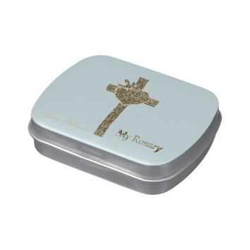 My Rosary Elegant Blue Gold Golden Cross Monogram Jelly Belly Tin