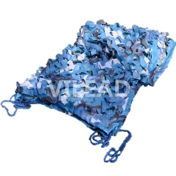 VILEAD 4M*10M Filet Camo Netting Blue Camouflage Netting Camo Tarp Sun Shelter For Decor ACovered Venue Decoration Theme Party