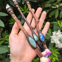 Clear Quartz And Amazonite Magic Wand Make Up Brush