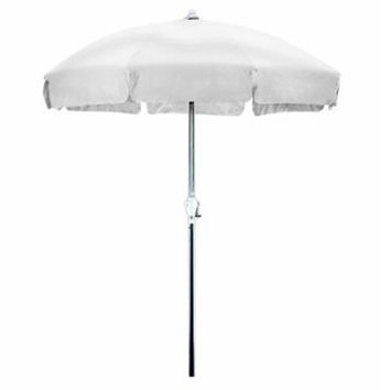 Delightful 7.5 Foot Patio Umbrella With Push Button Tilt In White Olefin