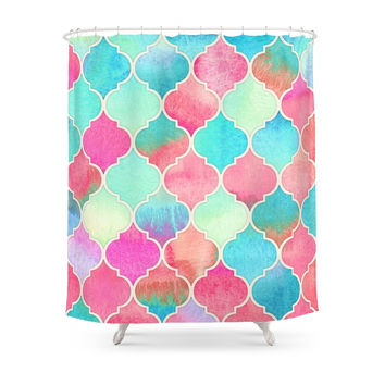 Society6 Watercolor Moroccan Patchwork In Magenta, Peach & Aqua Shower Curtains