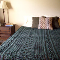 Crochet Mixed Pattern Afghan | Green Heirloom Stitch Queen Bedspread