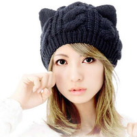 Devil Horns Cat Ear Winter Beanie Crochet Braided Knit Ski Wool Cap Hat Women = 1929835908