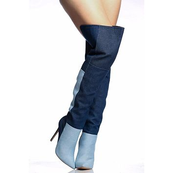 Cowboy Denim Color Block Stiletto High Heel Over Knee Boots