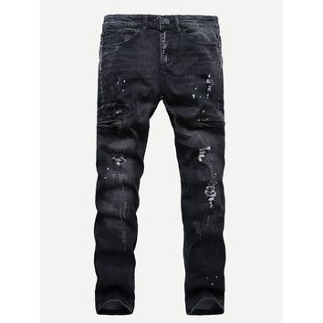 Men Destroyed Skinny Jeans - Black