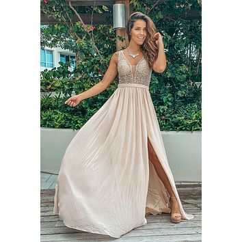 Champagne Sequin Maxi Dress with Mesh Back