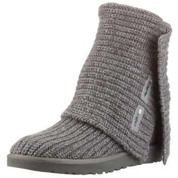 UGG Australia Women's Classic Cardy Knit Sheepskin Fashion Boot Grey 7 M US