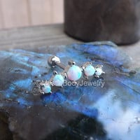 "Opal Cluster 16g Cartilage Earring Five Gemstones Prong 1/4"" Earlobe Silver Stud Conch Earrings Body Jewelry White Gem Opals Ear Piercings"