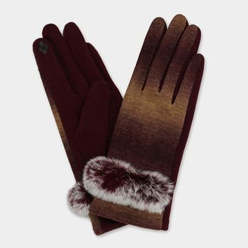 Ombre Fur Detail Touch Gloves