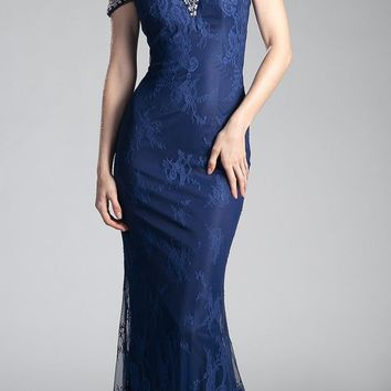 Cold Shoulder Lace Mermaid Long Prom Dress Navy Blue