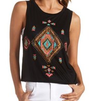Rhinestone Aztec Graphic Muscle Tee by Charlotte Russe - Black