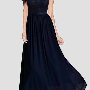 Navy Blue Patchwork Lace Zipper Draped Elegant Cocktail Party Chiffon Maxi Dress