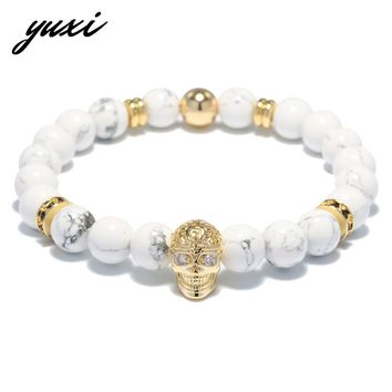 YUXI Crystal Round Circle Rivet Piercing Skull Men's Bracelets For Men Jewelry White Natural Stone Beaded Bracelet Homme Bijoux