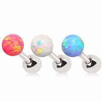 316L Stainless Steel Synthetic Opal Ball Cartilage Earring