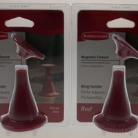 Lot 2 Rubbermaid Jewelry Ring Holder Red Magnetic Closure Suction Cup Stand NEW