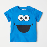 T-shirt with Printed Design - Blue/Sesame Street - Kids | H&M US