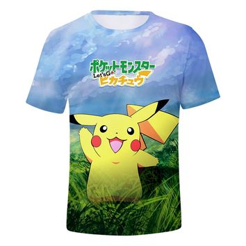 0396c2ae BTS 2018 New Game Pokemon Go Pikachu Eevee 3D Fashion Tshirt Wom