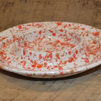 Vintage Ashtray, Paint Splatter Ashtray, Retro Ashtray, Vintage Ceramic Ashtray, Speckle Ashtray, Orange, Red, Tan