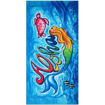 """Aloha Mermaid"" Beach Towel"