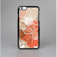 The Brown and Orange Transparent Flowers Skin-Sert Case for the Apple iPhone 6