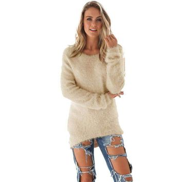2016 Autumn Winter Womens Blouse Casual Solid Long Sleeve Beige Clothing Solid Shirt #LSIW