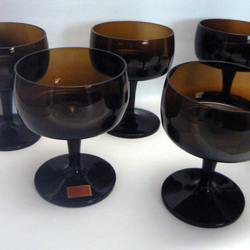 Gorham Reizart Footed Champagne Dessert Sherbet Sorbet Goblet Glasses Rich Amber Brown Bavarian Hand Blown Set of 6 Glass Goblets