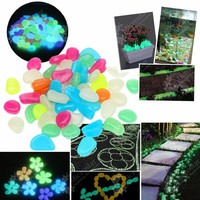 Garden Ornaments 100pcs Glow In The Dark Luminous Pebbles Stones Wedding Decoration Home Improvement Crafts Party Event Supplies