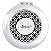 Modern Black and White Geometric Monogram and Name Mirror For Makeup